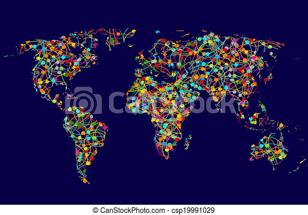 World map made of abstract colorful dots network world map made of abstract colorful dots network csp19991029 gumiabroncs Images
