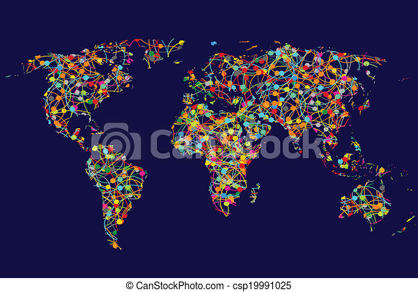 world map made of abstract colorful dots network csp19991025