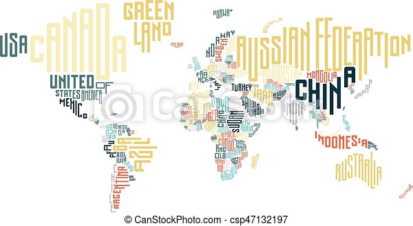 World map made of typographic country names vector illustration gumiabroncs Gallery