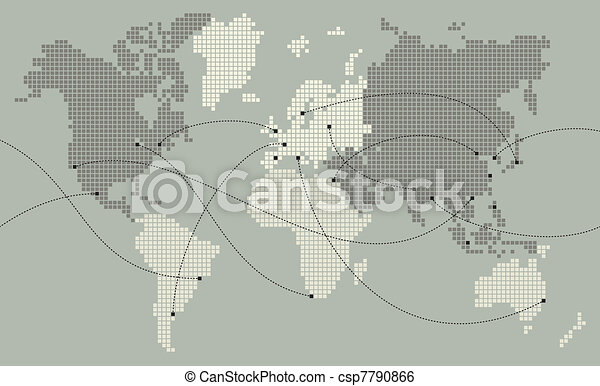 World map made out of small squares main cities are marked and world map made out of small squares csp7790866 gumiabroncs Choice Image