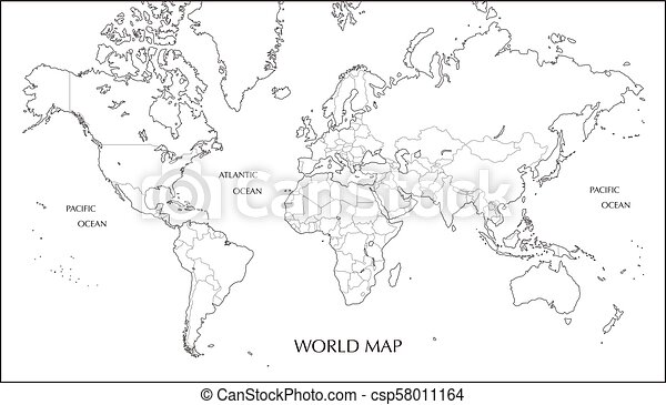 World map mercator projection blank map with boundary line world map mercator projection blank map with boundary line csp58011164 gumiabroncs Images