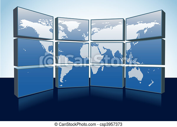World map monitors display Earth map on screens - csp3957373