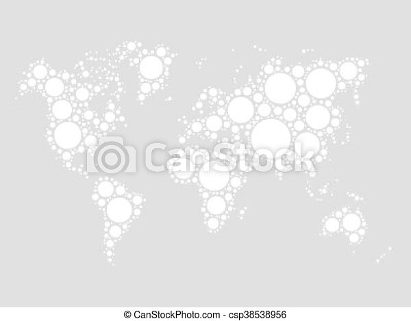 World map mosaic of black dots in various sizes on white clipart world map mosaic of black dots csp38538956 gumiabroncs Images