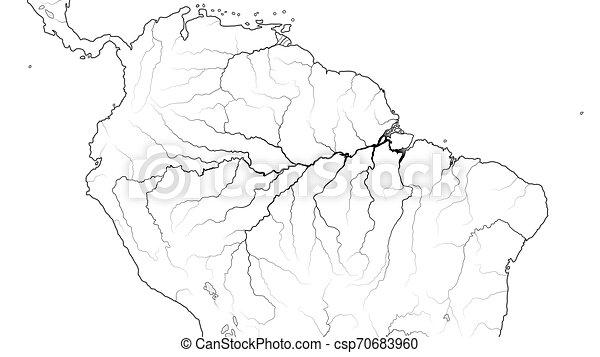 World Map of AMAZON SELVA REGION in SOUTH AMERICA: Amazon River, Brazil,  Venezuela. (Chart).