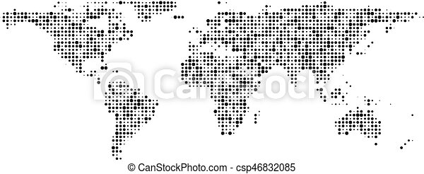 Communication world map of black dots banner vector paper vector world map of black dots banner csp46832085 gumiabroncs Images
