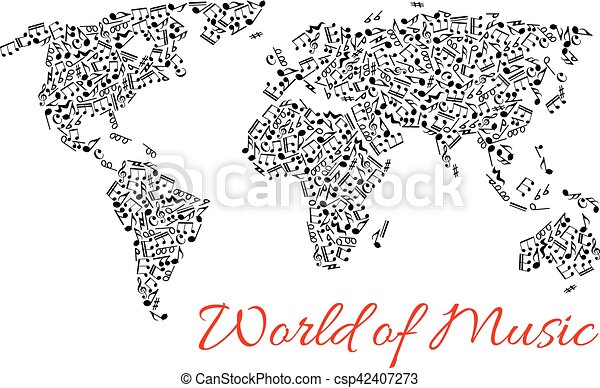 World map of muisc and musical notes musical notes in shape of musical notes in shape of world map vector icons of music stave pattern designed in form of continents africa america with australia europe and asia gumiabroncs Images