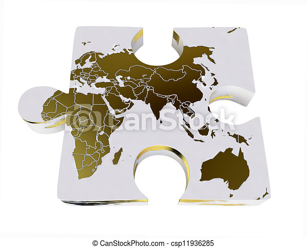 World map on 3d jigsaw puzzle in 3d stock illustration search world map on 3d jigsaw puzzle csp11936285 gumiabroncs Images