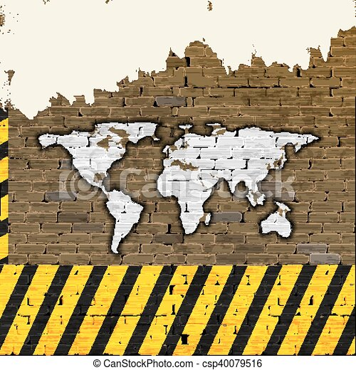World map on a brick wall building brick wall with drawn vector world map on a brick wall building csp40079516 gumiabroncs Choice Image