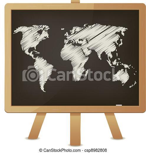 World map on classroom blackboard illustration of an vector world map on classroom blackboard csp8982808 gumiabroncs Choice Image