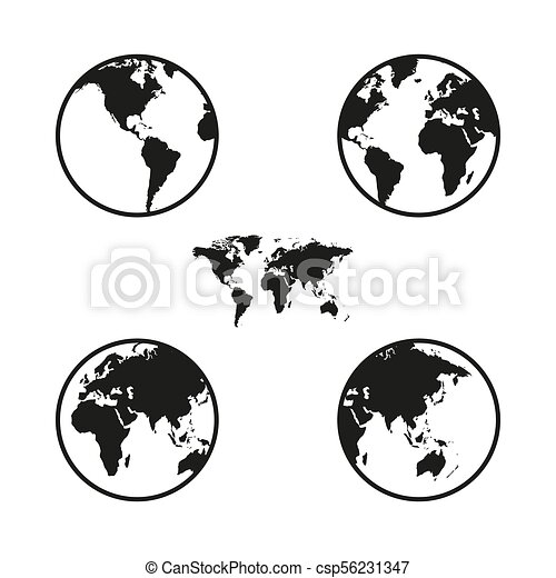 World map on globe from different sides, simple black icons on