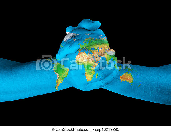 World Map On Hands.World Map On Hands Map Painted On Hands Showing Concept Of Having
