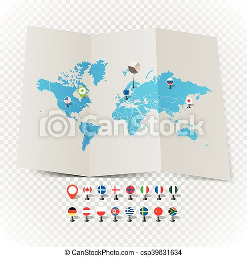 World map on old map and flags of different countries and world map on old map and flags of different countries and symbols on transparent background vector gumiabroncs Image collections