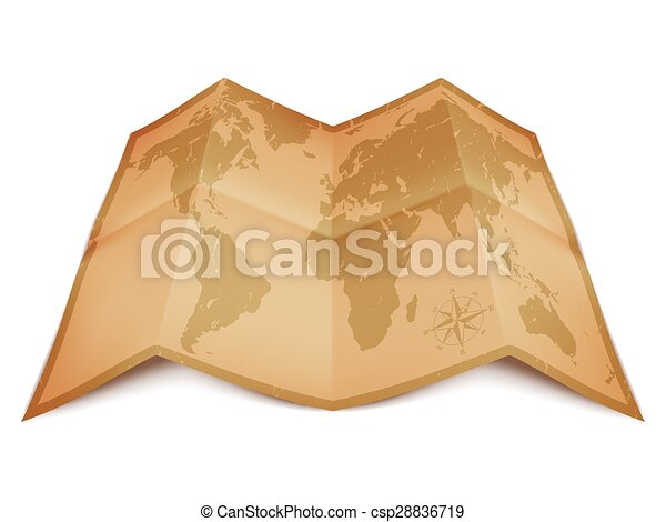 World map on old paper vector illustration of world map on folded world map on old paper csp28836719 gumiabroncs Gallery