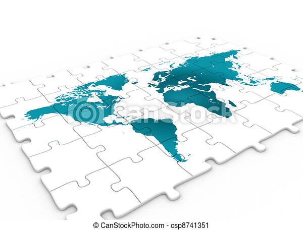 Blue world map on puzzle pieces 3d render clipart search world map on puzzle csp8741351 gumiabroncs Images