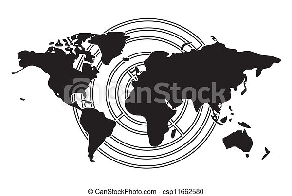 World Map On Target Icons