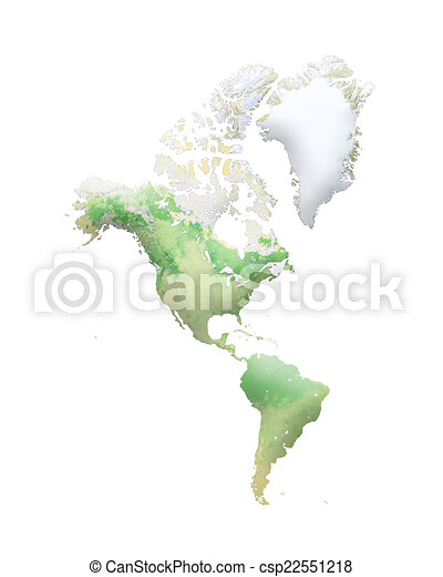 World map on white background. north and south america.