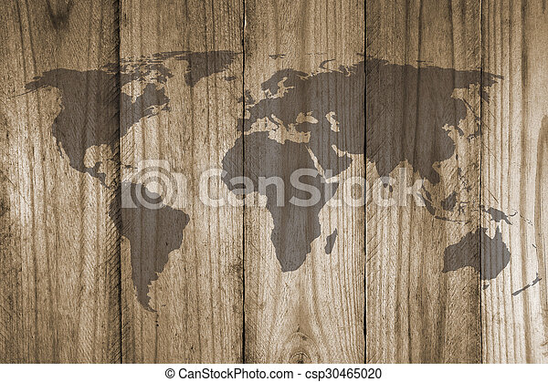 world map on wooden texture