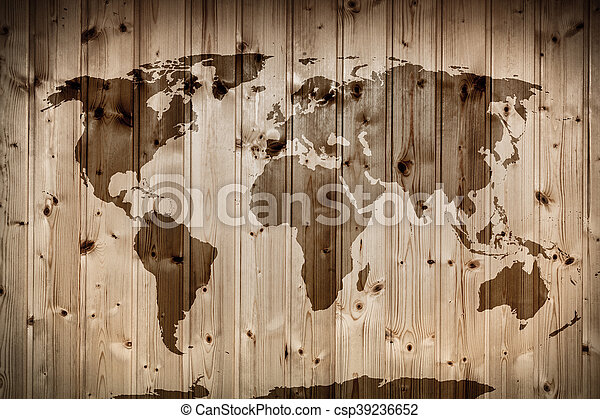 World map on wooden wall. vintage. World map on wooden wall. retro ...