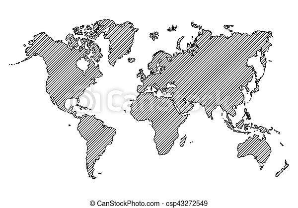 World map outline and oblique line eps vector search clip art vector world map outline and oblique line csp43272549 gumiabroncs Images