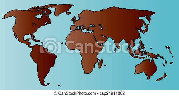World map outline a map of the world in blue and brown world map outline csp24911802 gumiabroncs Images