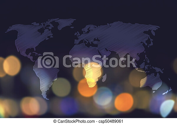 Global travel industry concept world map overlay and stock image world map overlay and nighttime city bokeh background csp50489061 gumiabroncs Images