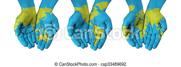 World map painted on hands isolated on white stock photographs world map painted on hands isolated on white csp33489692 gumiabroncs Gallery