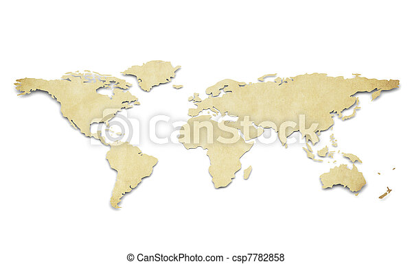 World Map Paper Shape Grunge A World Map In D Paper - World map shape