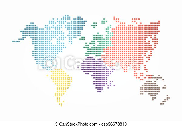 World map pixel style and flat color design different world map pixel style and flat color design different color of continent gumiabroncs Image collections