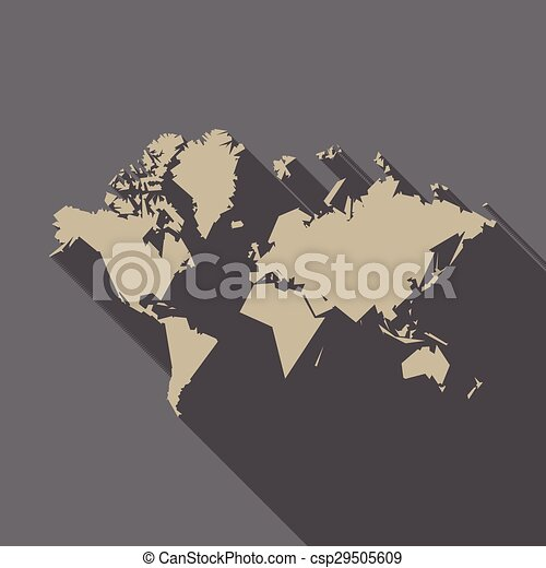 World map polygon flat design with long shadow for web and mobile world map polygon flat design csp29505609 gumiabroncs Image collections
