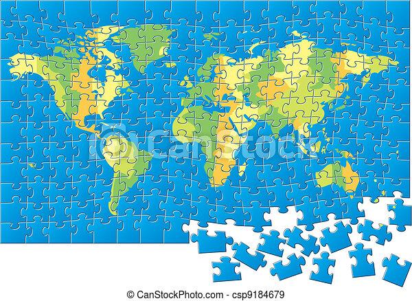 World map puzzle  - csp9184679