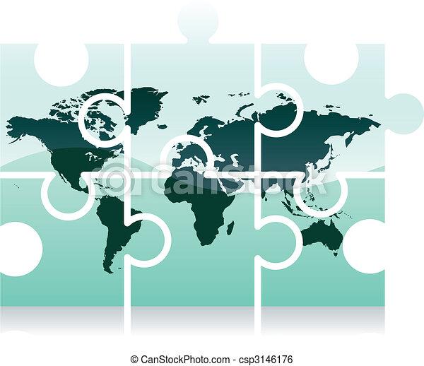 World map puzzle icon - csp3146176