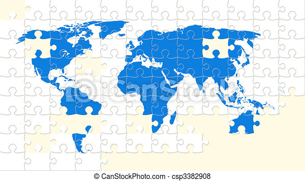 World map puzzle with missing pieces stock illustration search world map puzzle with missing pieces csp3382908 gumiabroncs Choice Image