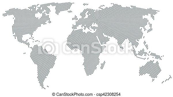 World Map Radial Dot Pattern Gray Color World Map Radial Dot