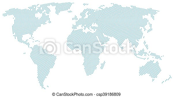 World map radial dot pattern blue dots going from the vector world map radial dot pattern csp39186809 gumiabroncs Choice Image