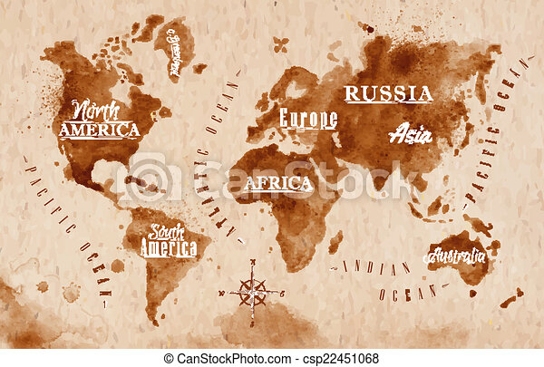 World map retro world map in old style in vector format brown world map retro csp22451068 gumiabroncs Gallery