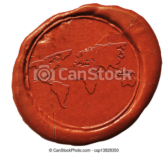 world map sign on wax seal  - csp13828350