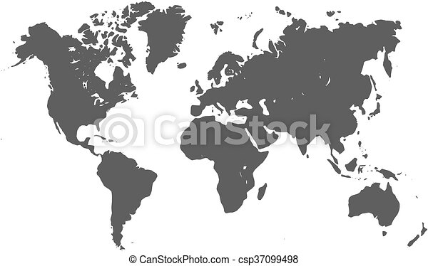 World map silhouette vector map of world grey silhouette eps world map silhouette csp37099498 gumiabroncs Choice Image