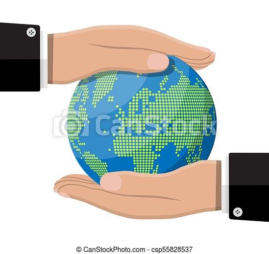 world map silhouette globe in hand csp55828537