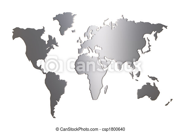 World map silhouette isolated on white background stock illustration ...