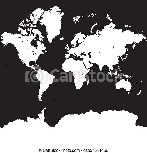 World map silhouette on square black