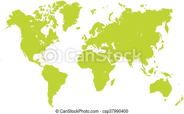 World map silhouette. Vector map of world. green silhouette ...