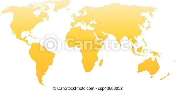 World Map Silhouette Vector Yellow Gradient Isolated On White
