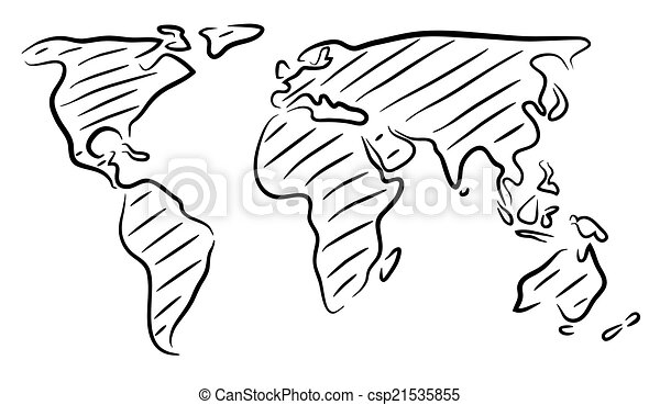 World map sketch Editable vector rough outline sketch of a