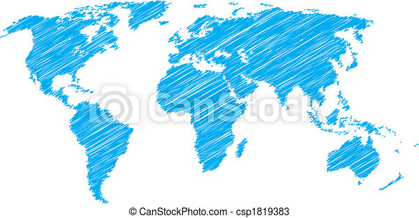 World map sketch blue vector scribble sketch of world map vectors world map sketch csp1819383 gumiabroncs Choice Image