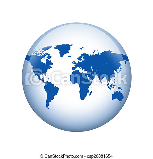 Spherical World Map.World Map Spherical Glossy Button Web Element