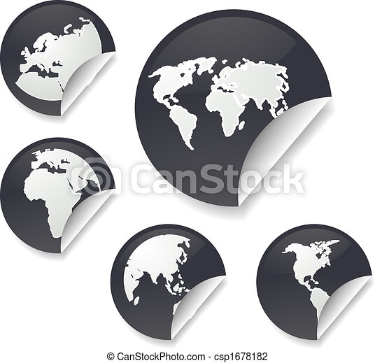 World map stickers world map icons on round sticker shapes clip art world map stickers csp1678182 gumiabroncs Images