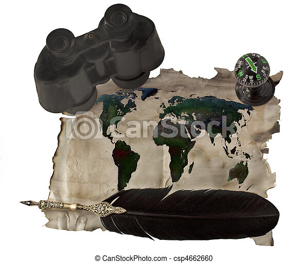 Ancient paper with world map old pen binocular and compass stock world map csp4662660 gumiabroncs Choice Image