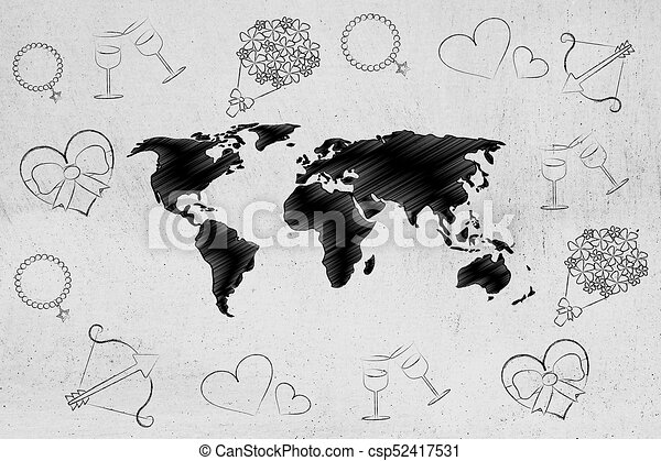 Long Distance Relationship Concept World Map Surrounded By Love
