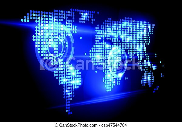World map tech perspective blue abstract background digital world world map tech perspective csp47544704 gumiabroncs Choice Image