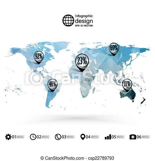 World map template triangle design infographics vector illustration gumiabroncs Image collections